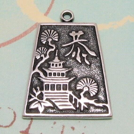 Brass Pagoda Pendant, Antique Silver AS32