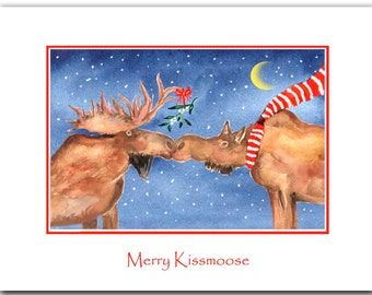 moose Christmas cards, moose kissing, Set of 10. Original artwork. brown moose.woodland. funny Christmas cards.