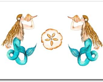 8 blank mermaid and sand dollar note cards. coastal art. watercolor. shell painting. mermaid artwork.mermaid watercolor, thank you notes