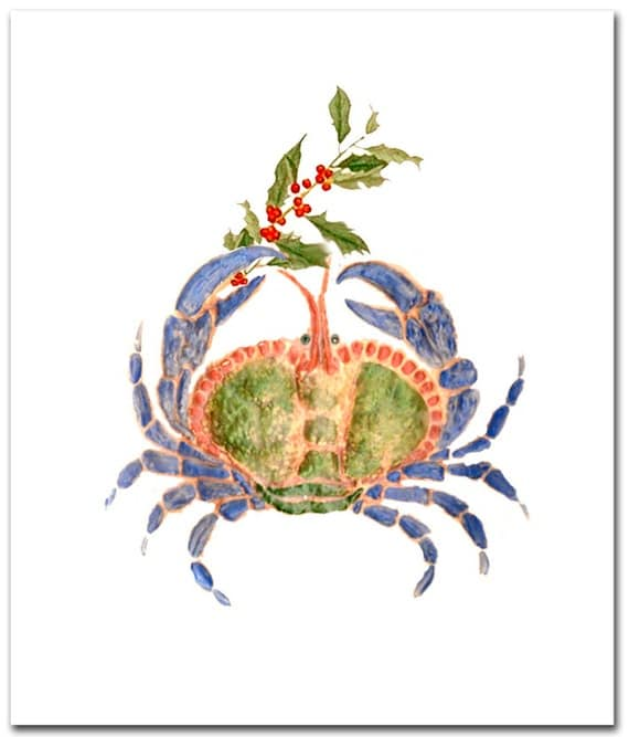 Blue Crab Christmas cards. Christmas cards boxed 10 per boxed