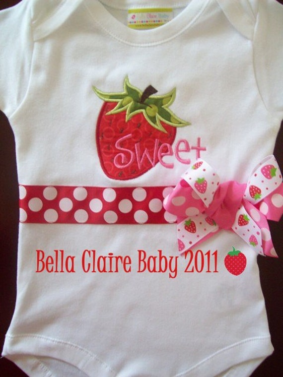 SALE Ready to ship size 12-18 months only STRAWBERRY SWEETNESS birthday monogrammed short sleeved  bodysuit for baby girl toddler