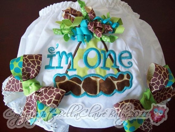 Ready to ship size 12-18 months only SILLY GIRAFFE Frills Birthday Hat monogrammed bloomers diaper cover for baby girl toddler