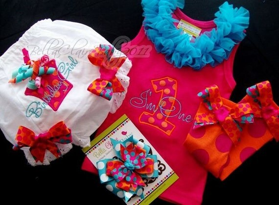 WHAT A HOOT set Ready to Ship size 12-18 months monogrammed ruffle tank, diaper covers, leg warmers, hair bow set girl toddler