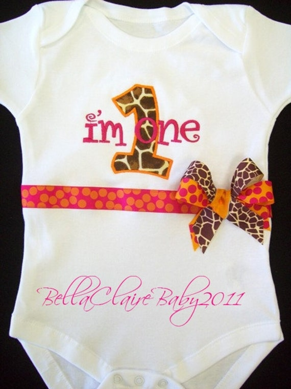 Ready to ship size 12-18 months only SASSY GIRAFFE Frills First birthday monogrammed short sleeved bodysuit for baby girl toddler