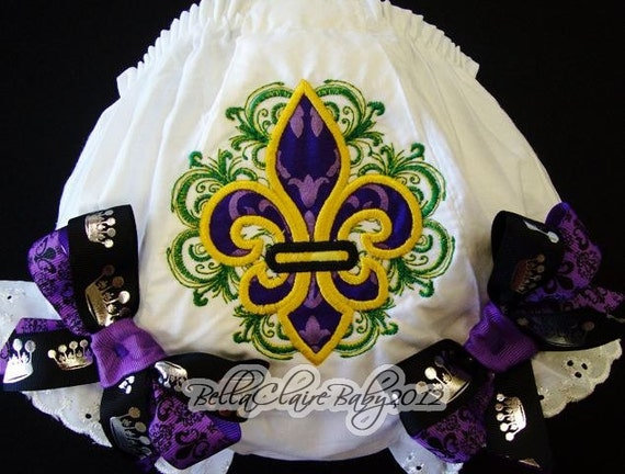 Mardi Gras Bloomers  Ready to ship size 6-12 months only monogrammed fleur de lis bloomers diaper cover for baby girl toddler newborn