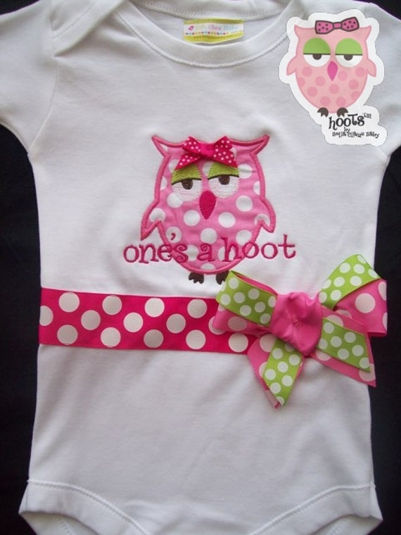 Ready to ship size 12-18 months Margo HOOTs owl monogrammed short sleeved bodysuit for baby girl toddler newborn