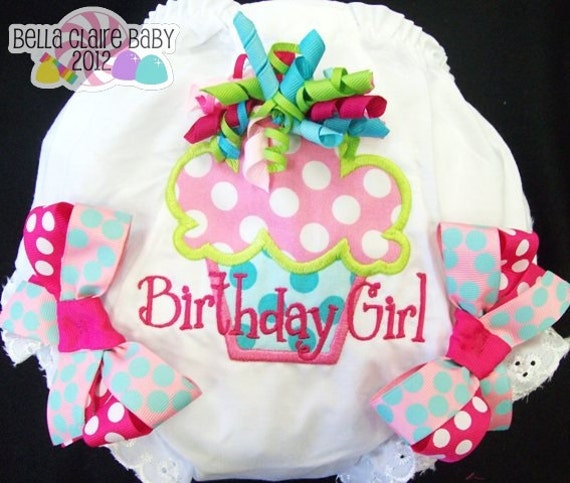 Bright Birthday Girl Cupcake Frills Ready to Ship size 18-24 months monogrammed  diaper covers cupcake bloomers for baby girl toddler