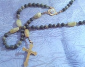 Serpentine and Honey Jade Rosary