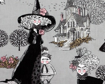 "23"" The Ghastlies Alexander Henry Fabric ghastly girl witch grey gray"