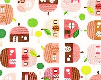Appleville - Houses by Suzy Ultman from Robert Kaufman Fabrics ASD-11467-108 Fuchsia