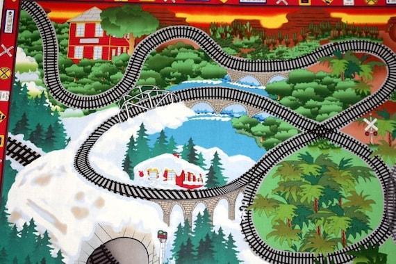 Train Fabric Play Panel 1y  - All Aboard