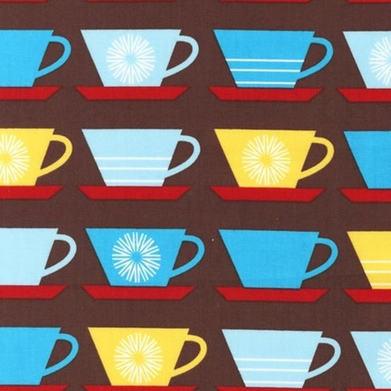 """LAST ONE 42"""" Happy Home fabric from Robert Kaufman brown cups"""