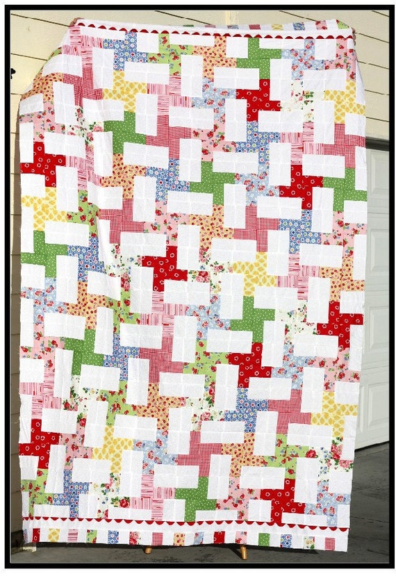 QUILT TOP Twin Size Kit - Pam Kitty Morning fabric