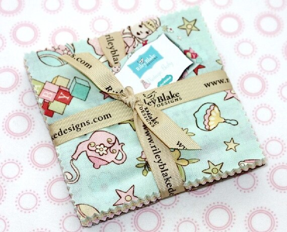 24 squares Vintage Baby Charm Pack  - 5 inch squares by Riley Blake