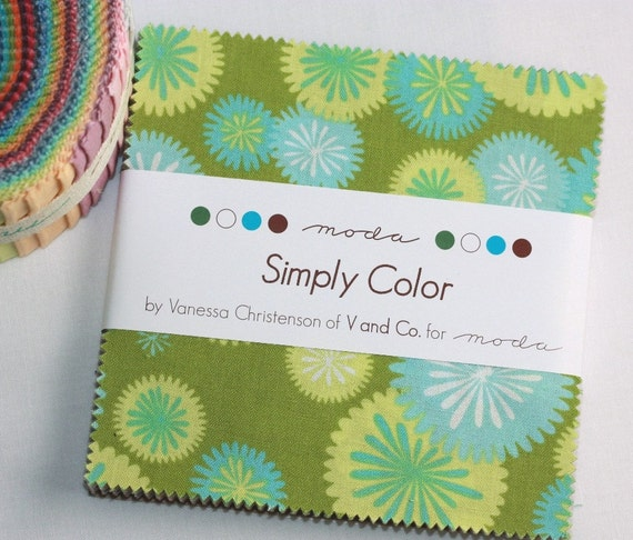 5 inch charm pack SIMPLY COLOR Moda Fabric by V and Co.