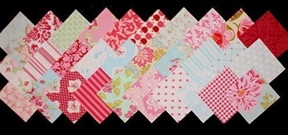 60 - 5 inch charm pack squares PINK AQUA RED fabric retro