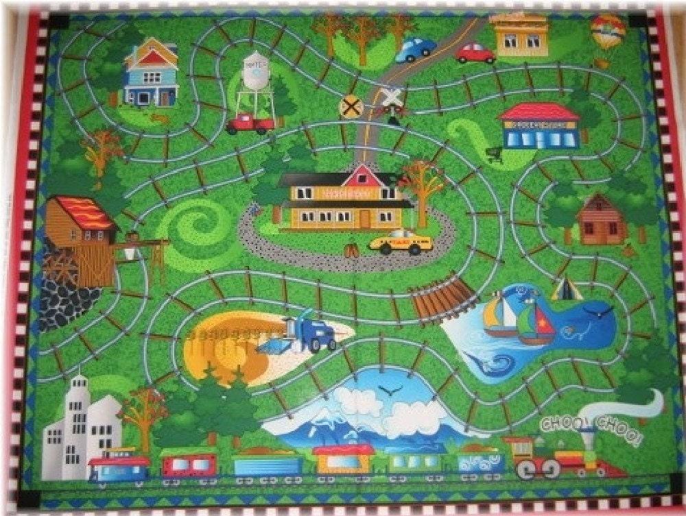 Train Station Fabric Panel Quilt Playmat