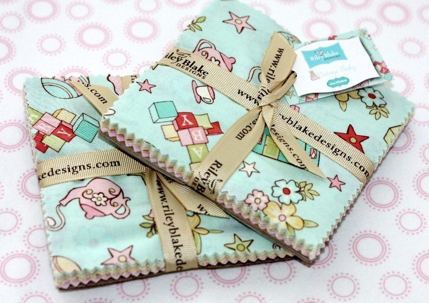 2 packs vintage baby charm squares 5 inch by