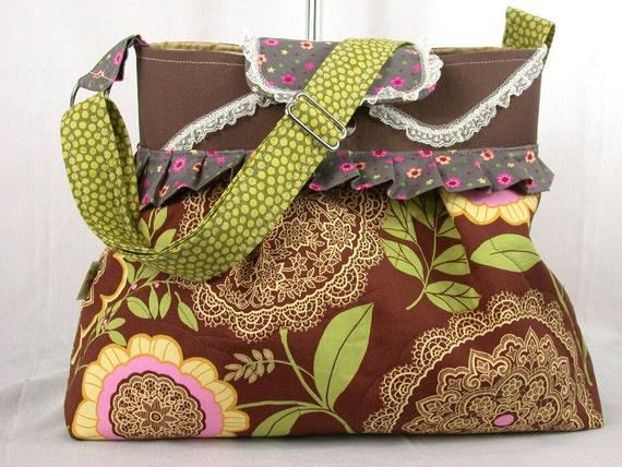 Lacework -Amy Butler-Pleated - Messenger bag-Pink--Brown-BagZGirl-Large -Diaper bag