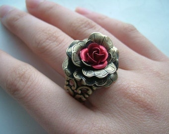Antique Brass Red Rose Ring, Victorian Filigree Ring, Adjustable, Chic, Woodland Jewelry