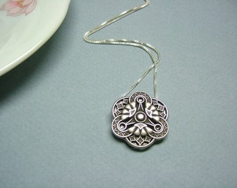Antique Silver 1900's Vintage Inspired Metal Button with 925 Sterling Silver Necklace