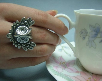 Antique Silverware Victorian Filigree Owl Ring, Adjustable, Fantasy, Woodland Jewelry, Gift for her