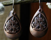 HALF OFF TODAY - Spinners Earrings - Detailed Antiqued Copper
