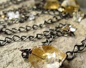 Liquid Sunshine Necklace - Citrine Stones - 40 inches long or double wrap