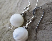 Mother Of Pearl Baubles Earrings - sterling silver beads, sterling silver ear wires