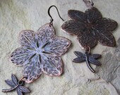 Dragonfly Blossoms Earrings - Large Antiqued Copper Metal Filigree - light weight