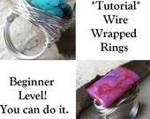 PDF Tutorial - Jewelscapes Extremely Wire Wrapped Stone and Bead Rings - Beginner Level - 38 photos - detailed instructions