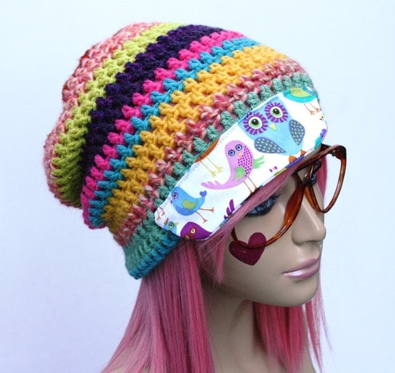 Crochet Beanie Hat with Fabric Bill Rhyme & Reason/Ultimate