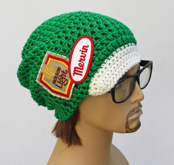 Mens Crochet Beanie Hat with Bill and patches by ...
