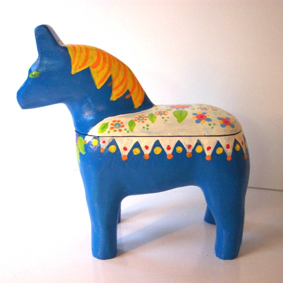 Swedish Dala Horse Box Blue