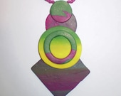 RESERVED FOR SHIRLEYCLEARY Fuschia, Green, and Yellow Geometric Polymer Clay Necklace and Earrings Set