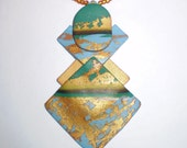 Gold, Teal, and Blue Mixed Geometric Polymer Clay Necklace and Earrings Set