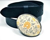 Belt Buckle Vintage Gray and Yellow