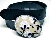Belt Buckle  Lotus Flower Black Silver White