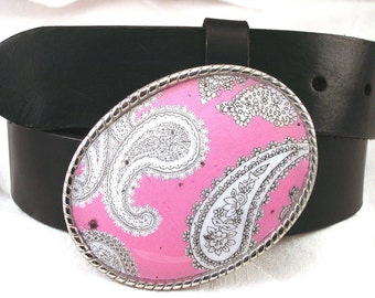 Belt Buckle Perfectly Pink Paisley
