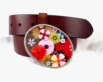 Belt Buckle Flower Power