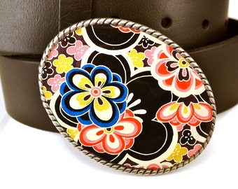 Belt Buckle Floral Influence Black Oval