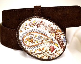 Rustic Belt Buckle Lucky Paisley  Western Cowgirl