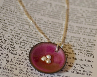 Lily Pad Enamel Necklace in  Cranberry Pink
