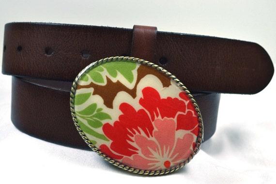 Belt Buckle Brown Floral