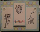 Reserved for Terri: Trampoline Kitties, Set of 5 cards and envelopes
