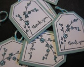 Soft blue floral tags for etsy vendors, hostess gifts, wedding favors, and crafting. Set of 12.