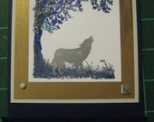 Wolf/Husky/Malamute Silhouette Matchbook-style Cards, Set of 5 with Envelopes