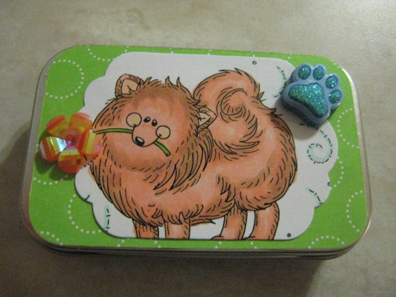 Fluffy Pomeranian Note Tin, Cute Tampon Case, or Business Card Wallet, Spitz,