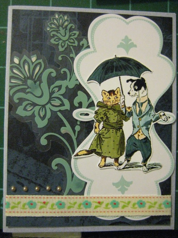 Vintage Style Pet Themed Card Set: Turn of the Century Stroll, Rat Terrier, Jack Russell, Parson Russell and Tabby Kitty