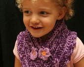 Montana - Crocheted purple Cowl\/scarf with flower buttons2T-5T